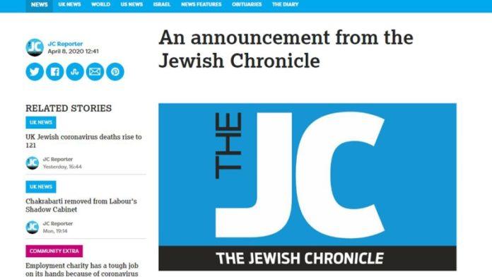 Los principales periódicos judíos británicos se cierran a consecuencia del coronavirus
