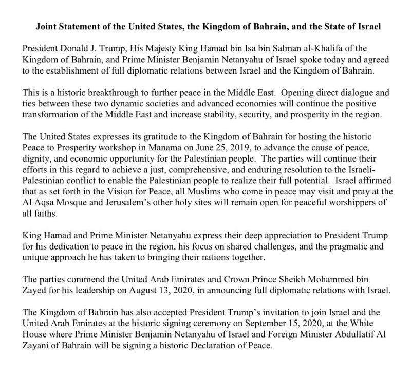 Baréin establece relaciones diplomáticas plenas con Israel, anuncia Trump